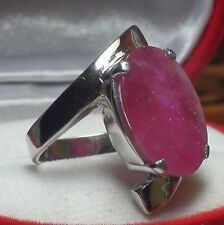 Beg! Natural 13.00ct Ruby Ladies Ring,Fine Estate Jewelry 925 Silver.Size 7.25,