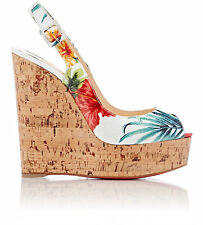 Christian Louboutin White Multi Une Plume Slingback Wedge Sandals 40.5 10.5 $675