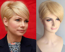 DELUXE MICHELLE SHORT CROPPED PIXIE CUT BLONDE HEAT RESISTANT FASHION WIG