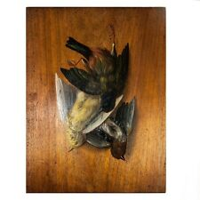 Antique French Trompe L'oeil Oil Painting on Wood, Hunt Theme Still Life, c.1875