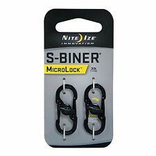 Nite Ize S-Biner MicroLock Black 2-Pack Locking Carabiners for Keychain Pet Tags