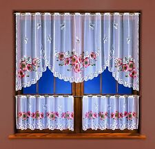 Kitchen Cafe Net Curtain White 3 Pieces Window Set High Quality Ready Made Panel