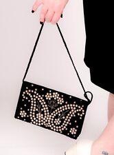 50s Vintage Black & Gold Velvet pearl beaded zardozi metal thread evening bag