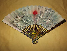 VINTAGE RISING SUN BIRD OCEAN CHINA  CHINESE PAPER FOLDING  HAND FAN