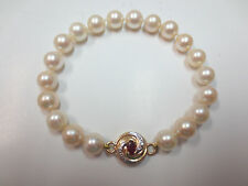 Vtg Lustrous Cultured Pearl Bracelet 14K Ruby and Diamond Chip Magnetic Clasp