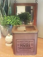 Vintage Style Metal Laundry Washing Machine Powder Canister Hinged Glass Lid