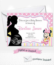 PRINTED Baby Minnie Mouse Baby Shower Invitations Ultrasound Party Invitations