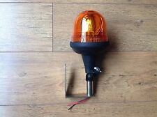 Rotating Flashing Amber Beacon + Bracket Pole Mount Tractor Combine Harvester