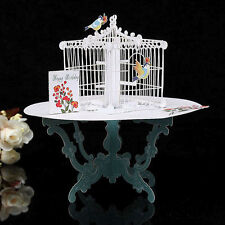 3D Table Birdcage Pop Up Greeting Card Birthday Wedding Gift Handmade Postcard R