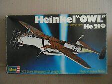 """Revell Heinkel """"Owl"""" He 219 1/72 vintage model kit"""