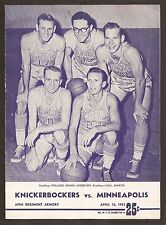 April 10 1953 NBA Championship Finals Gm 5 Program Lakers/Mikan beat Knicks 4-1!