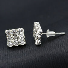 Women Men Silver Crystal Rhinestone Earrings Stud Geometric Square New Fashion