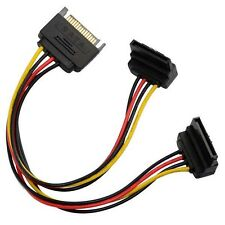 20cm 90 degree SATA 15-Pin Male to 2 x 15P Female Y Splitter Adapter Power cord