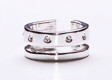 STRIKING AND SPARKLING DOUBLE EFFECT SILVER METAL RING WITH FIVE DIAMANTES(ZX42)