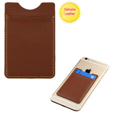 For Universal Brown Genuine Leather Stretch Adhesive Card Pouch/Sleeve