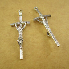 100pcs of 3.8cm Metal Papal Crucifix Cross Pendant with a Hole in the Legs