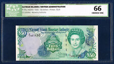 CAYMAN ISLANDS 50 DOLLARS QUEEN ELIZABETH II PICK 29a 2001 ICG 66 CHOICE UNC