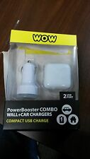 WOW BRAND POWER BOOSTER COMBO WALL + CAR CHARGERS - ACDC-012 - WHITE