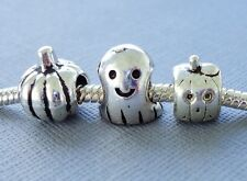 3 pcs Halloween Pumpkin Ghost Charms Beads Large hole for European Bracelet C100