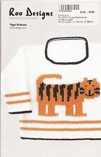 Roo Designs Child's Tiger Pullover KNITTING PATTERN Uses DK Yarn for 6mos-4yrs
