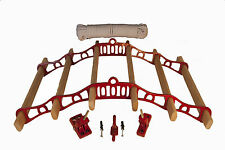 6 lath pine cottage maid vintage pulley kitchen clothes airer rack