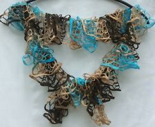 Crochet Knit Ruffle Loopy Turquoise Brown Tan Scarf Wrap