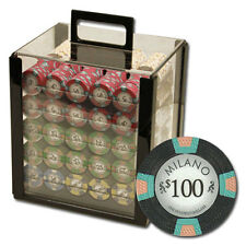 New 1000 Milano 10g Clay Poker Chips Set with Acrylic Case - Pick Chips!