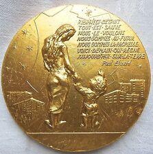 Médaille Dionysos Ville de Saint Denis citation de Paul Eluard par Joly Medal 铜牌