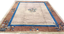 "An Antique 9' x 11'-6"" Worn Out Chinese Art Deco Rug"