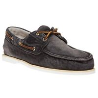 New Mens Timberland Black Classic 2 Eye Textile Shoes Boat Lace Up