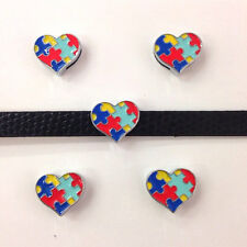 Set of 10 pc autism awareness slide charm fits 8mm wristband for jewelry
