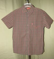 Levi's Type 1 Jeans Mens 100% Cotton Plaid Western Short Sleeve Shirt Medium EUC