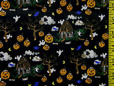 CREEPY  HAUNTED HOUSE PRINT 100% COTTON FABRIC BY THE 1/2 YARD