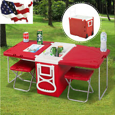 Multi Function Rolling Cooler Picnic Camping Outdoor w/ Table With 2 Chairs Red
