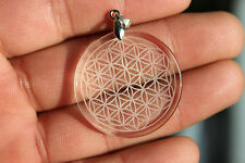 11g Natural Clear Quartz Crystal Flower of Life Pendant Carving  H89
