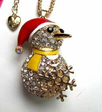 Betsey Johnson Sparkling crystal/Enamel snowman pendant Necklace#887L