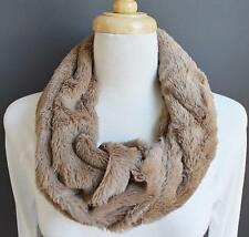 Lt Brown scarf faux fur cowl neck circle infinity endless loop super soft fluffy