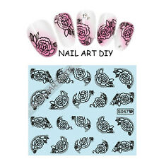 20 stickers-decals Nail Art water transfer- Adesivi Per Unghie Pizzo Nero !!!