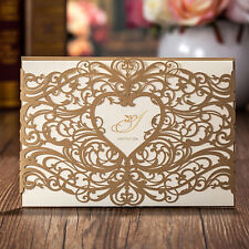 Gold Laser Cut Bridal Shower Wedding Party Invitations Cards with Envelopes