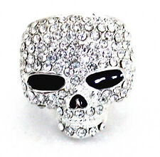 eli k SKULL HEAD Silver Plate & Clear Crystal Ring Size 9