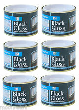 6 X BLACK GLOSS Paint Varnish Coating Exterior Interior Decoration Wall Non Drip
