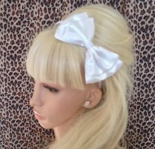 "NEW WHITE SATIN FABRIC 5"" DOUBLE SIDE BOW ALICE HAIR HEAD BAND WEDDING BRIDAL"