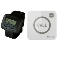 SINGCALL Wireless Restaurant Service Calling System 1 Watch and 1 Touchable Bell
