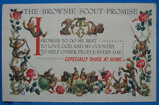 Vtg Girl Scouts The Brownie Scout Promise Illustrated Print Souvenir Postcard