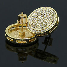 Mens Hip Hop Iced Out XL Round Circle Cz Flat Screen Screw Back Stud Earrings