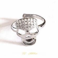 Skull Ring Strass Silber 925 zirkonia infinity PUNK Vintage glitzer Totenkopf Ri