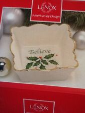 "Lenox ""Holiday"" Candy Dish Square W/Scalloped Edges & ""Believe"" Printed Inside"