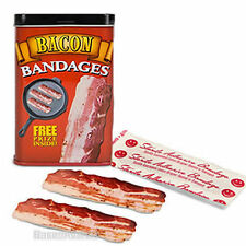 BACON BANDAGES ADHESIVE BAND AIDS - 15 BACON STRIPS KIDS BANDAIDS IN GIFT TIN