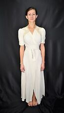 Vintage 40's Ivory Crepe Tie Front Lace Trimmed Dress Formal Gown Robe Size XS