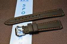Hadley Roma Black Silicone Watch Strap Orange stitching S/Steel buckle  NOS
